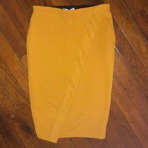 Zara mustard pencil skirt